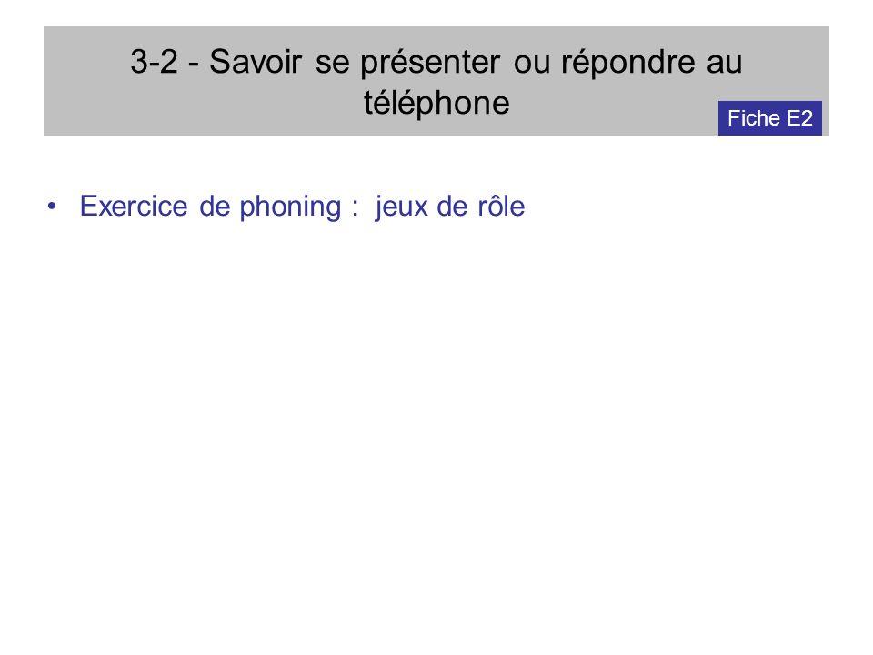 3-2 - Savoir se présenter ou répondre au téléphone Exercice de phoning : jeux de rôle Fiche E2