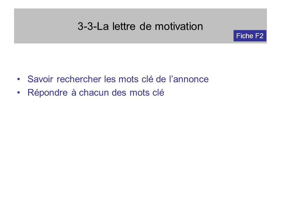 3-3-La lettre de motivation Savoir rechercher les mots clé de lannonce Répondre à chacun des mots clé Fiche F2
