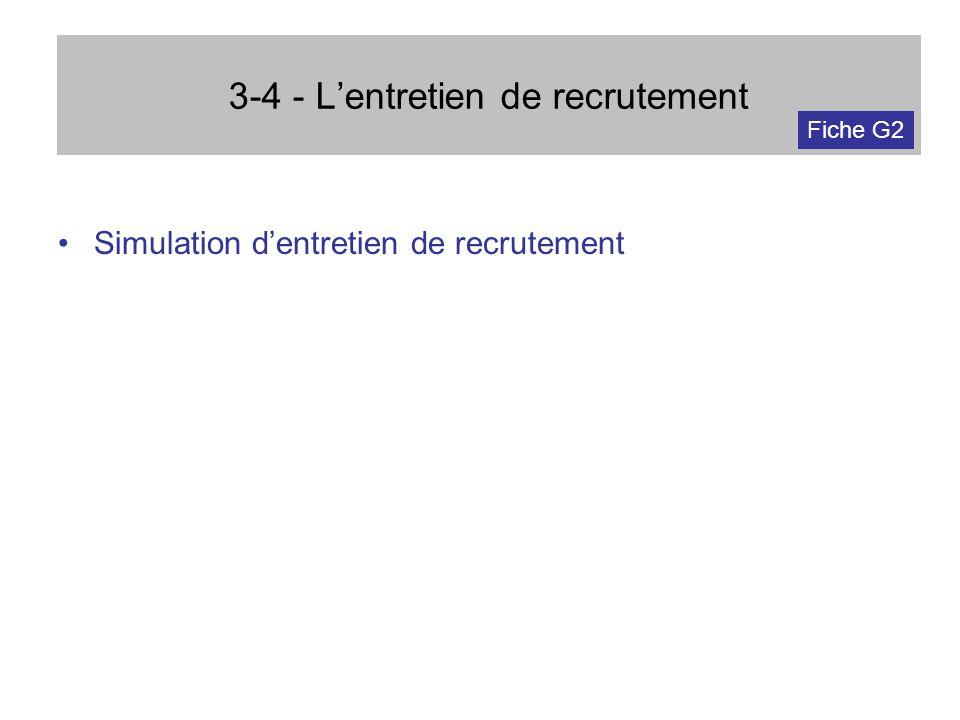 3-4 - Lentretien de recrutement Simulation dentretien de recrutement Fiche G2