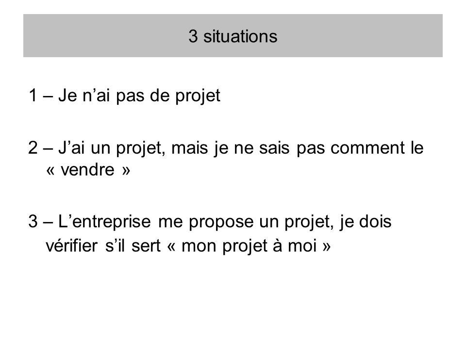 3 situations 1 – Je nai pas de projet 2 – Jai un projet, mais je ne sais pas comment le « vendre » 3 – Lentreprise me propose un projet, je dois vérif