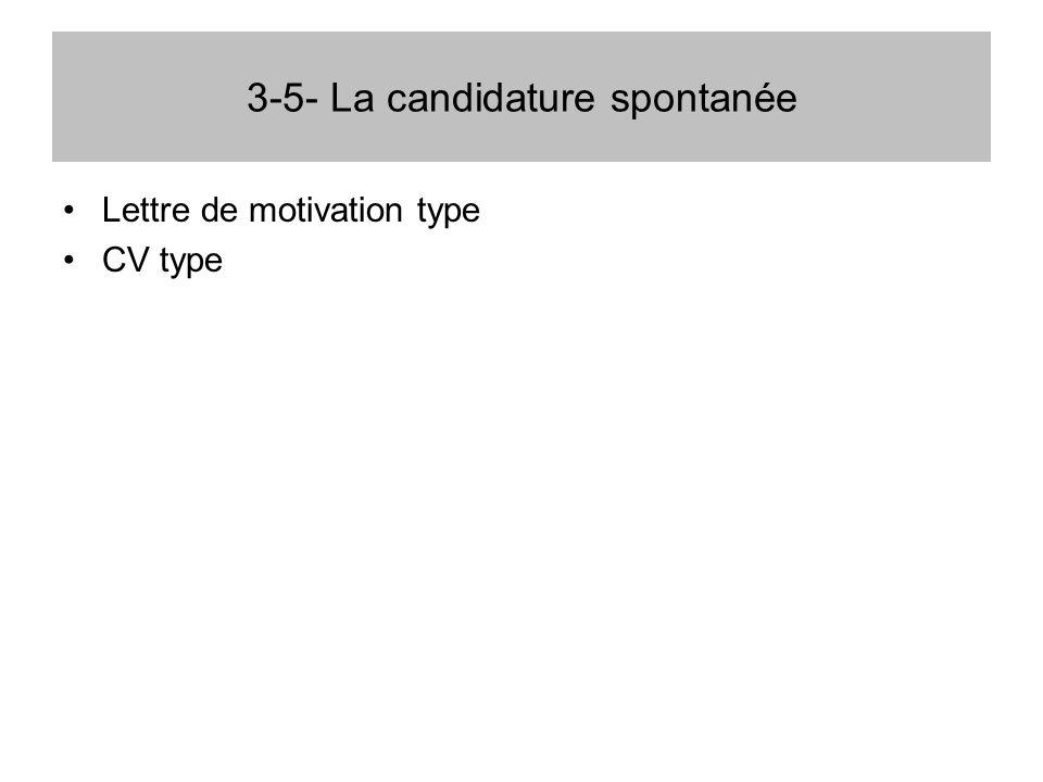 3-5- La candidature spontanée Lettre de motivation type CV type