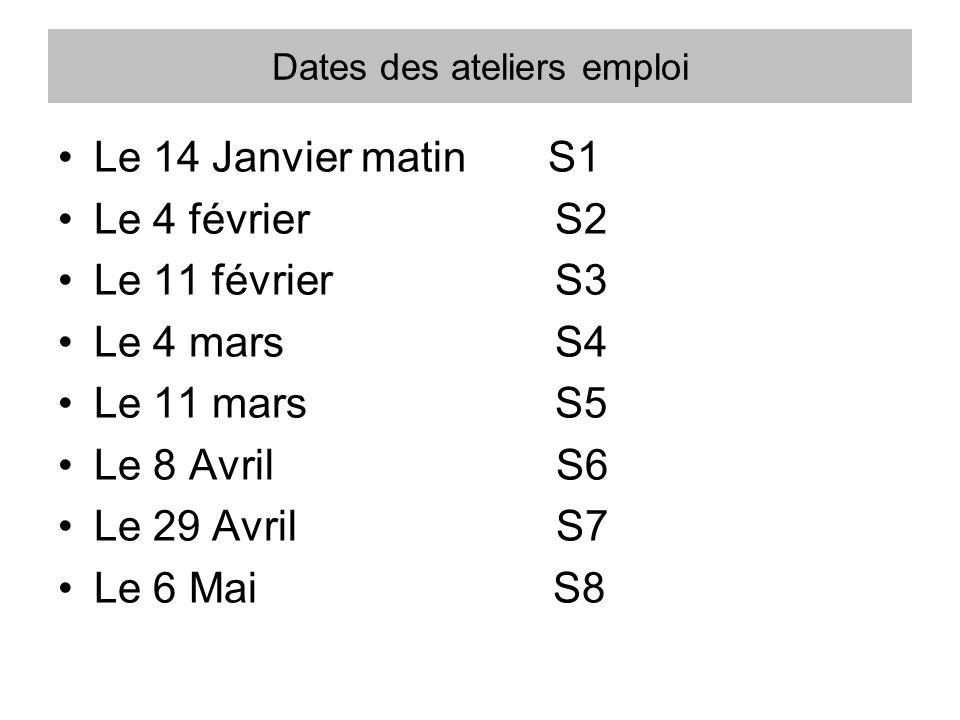 Dates des ateliers emploi Le 14 Janvier matin S1 Le 4 février S2 Le 11 février S3 Le 4 mars S4 Le 11 mars S5 Le 8 Avril S6 Le 29 Avril S7 Le 6 Mai S8
