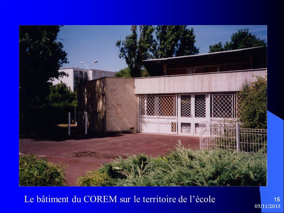 05/11/2013 15 Le bâtiment du COREM sur le territoire de lécole