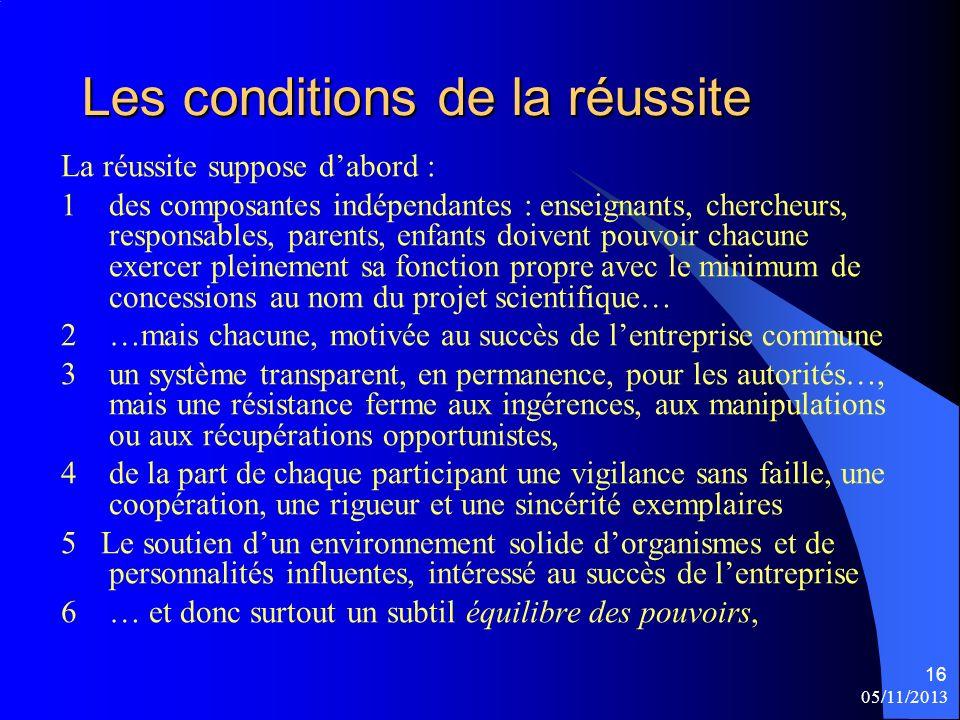 05/11/2013 16 Les conditions de la réussite La réussite suppose dabord : 1 des composantes indépendantes : enseignants, chercheurs, responsables, pare