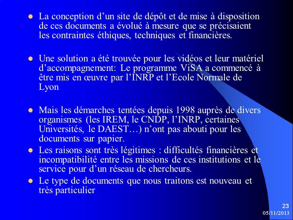 05/11/2013 23 La conception dun site de dépôt et de mise à disposition de ces documents a évolué à mesure que se précisaient les contraintes éthiques, techniques et financières.