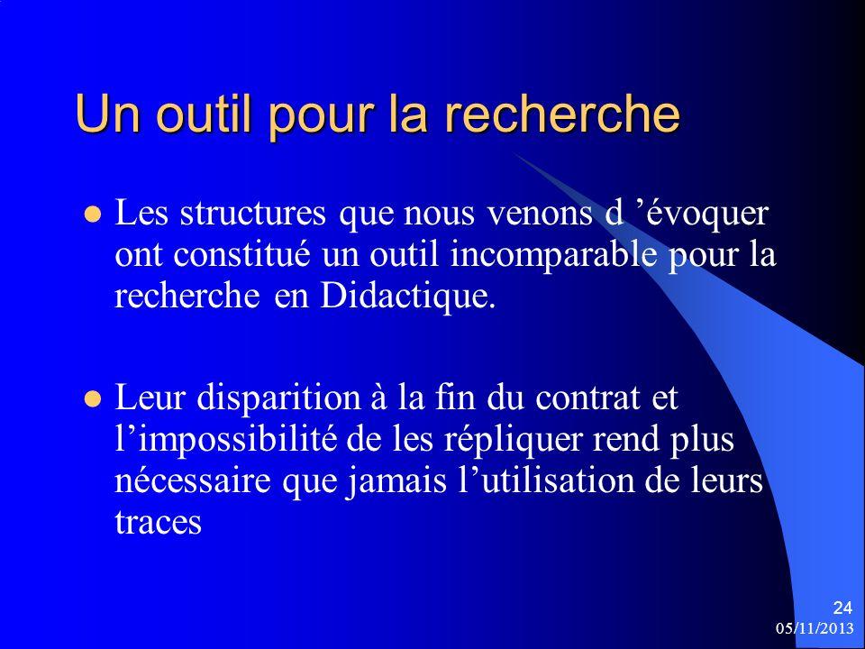 05/11/2013 24 Un outil pour la recherche Les structures que nous venons d évoquer ont constitué un outil incomparable pour la recherche en Didactique.