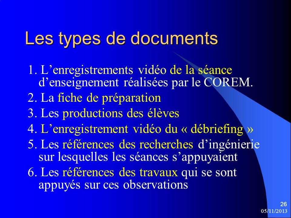 05/11/2013 26 Les types de documents 1. Lenregistrements vidéo de la séance denseignement réalisées par le COREM. 2. La fiche de préparation 3. Les pr