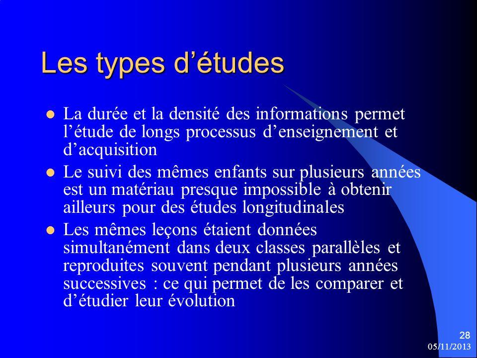 05/11/2013 28 Les types détudes La durée et la densité des informations permet létude de longs processus denseignement et dacquisition Le suivi des mê