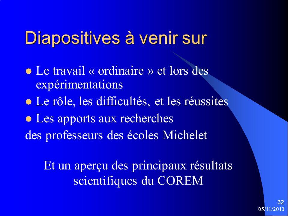 Diapositives à venir sur Le travail « ordinaire » et lors des expérimentations Le rôle, les difficultés, et les réussites Les apports aux recherches d