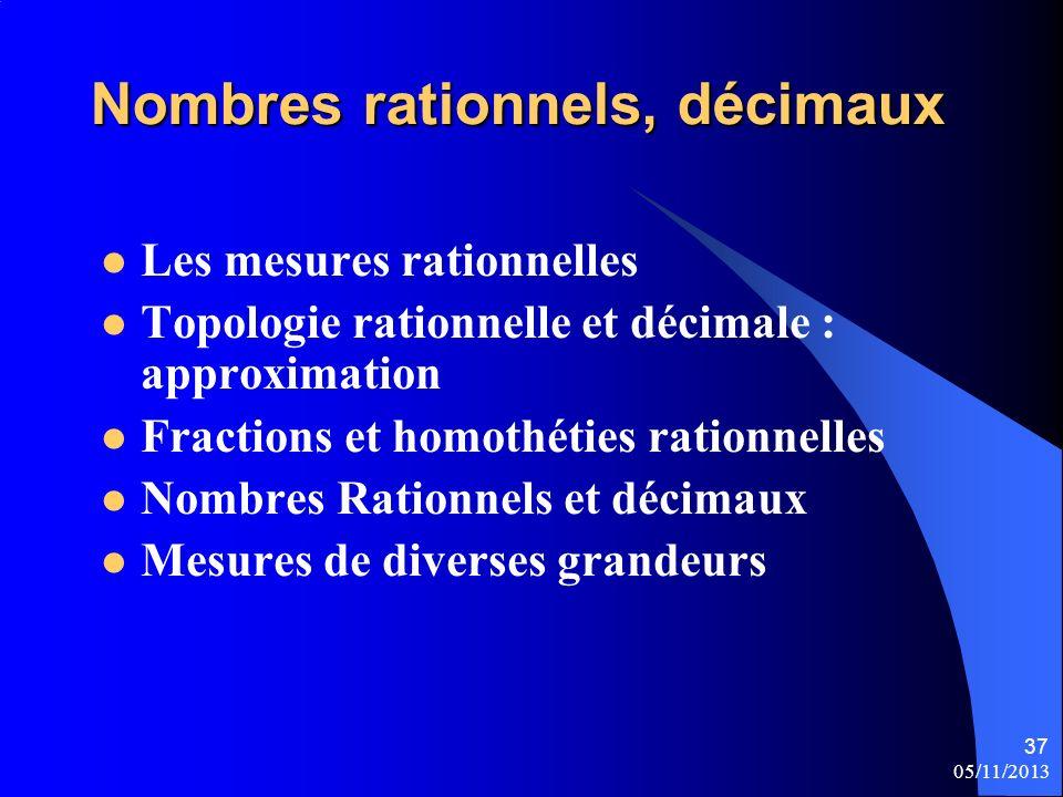 05/11/2013 37 Nombres rationnels, décimaux Les mesures rationnelles Topologie rationnelle et décimale : approximation Fractions et homothéties rationn