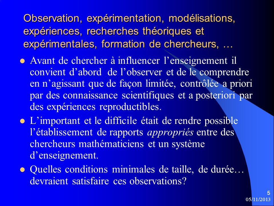 05/11/2013 5 Observation, expérimentation, modélisations, expériences, recherches théoriques et expérimentales, formation de chercheurs, … Avant de ch