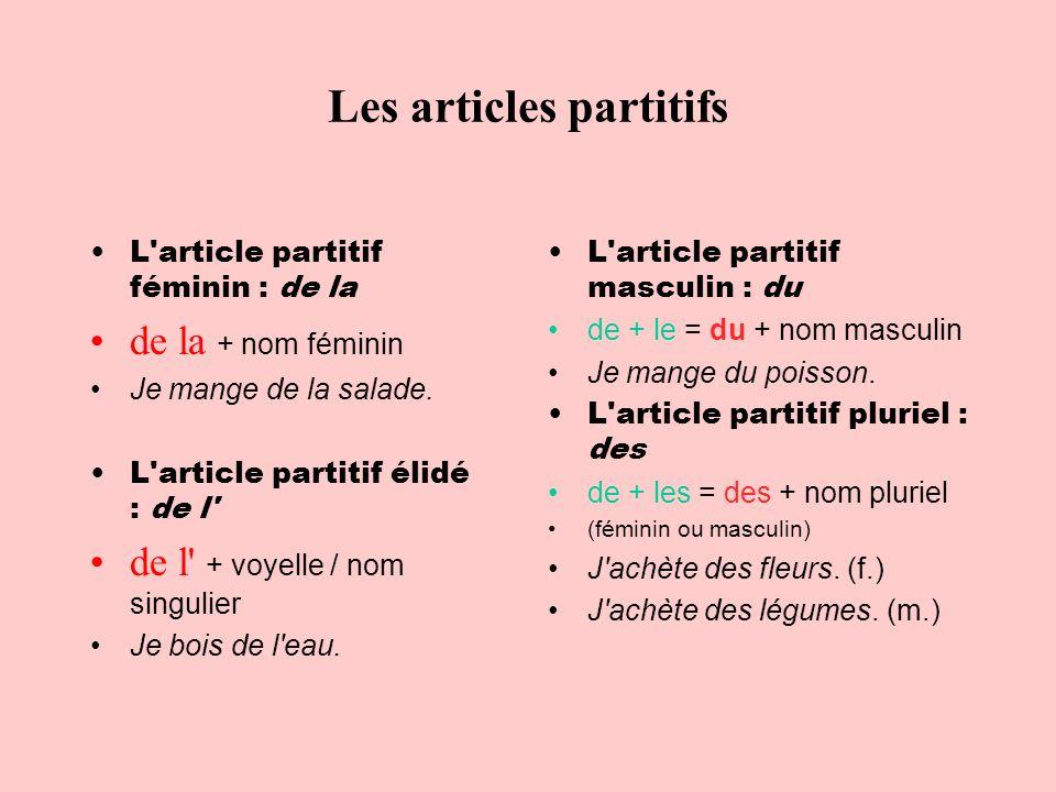 Les articles partitifs L'article partitif féminin : de la de la + nom féminin Je mange de la salade. L'article partitif élidé : de l' de l' + voyelle