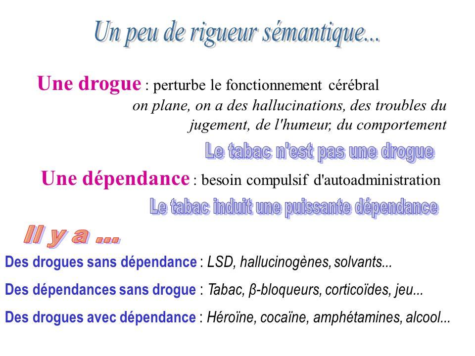 Une drogue : perturbe le fonctionnement cérébral on plane, on a des hallucinations, des troubles du jugement, de l'humeur, du comportement Une dépenda