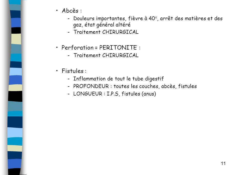 11 Abcès : -Douleurs importantes, fièvre à 40°, arrêt des matières et des gaz, état général altéré -Traitement CHIRURGICAL Perforation = PERITONITE : -Traitement CHIRURGICAL Fistules : -Inflammation de tout le tube digestif -PROFONDEUR : toutes les couches, abcès, fistules -LONGUEUR : I.P.S, fistules (anus)