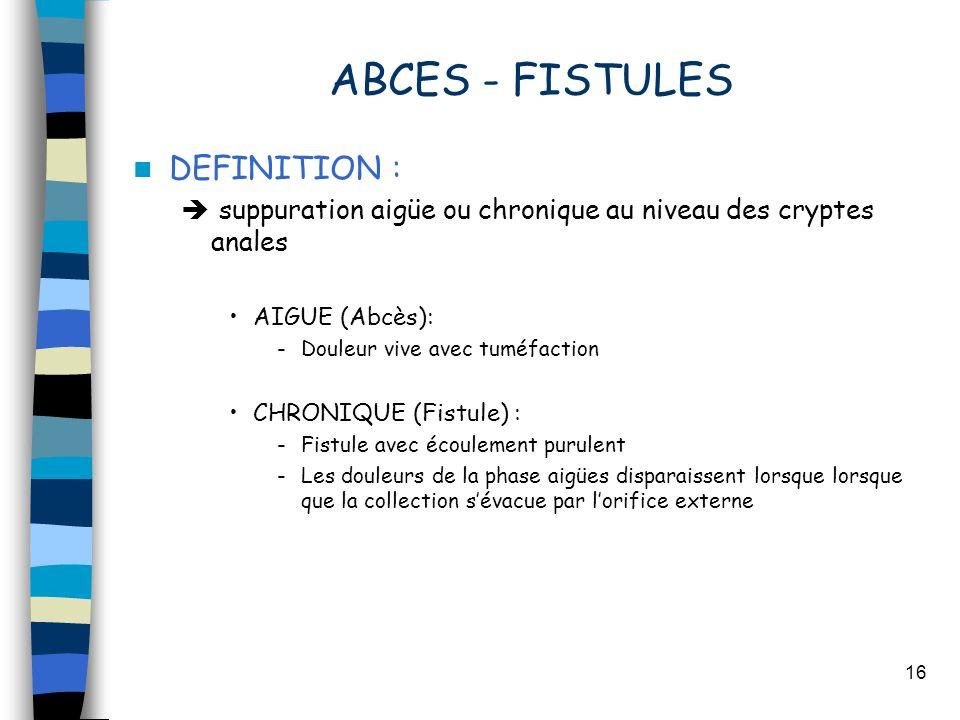 16 ABCES - FISTULES DEFINITION : suppuration aigüe ou chronique au niveau des cryptes anales AIGUE (Abcès): -Douleur vive avec tuméfaction CHRONIQUE (Fistule) : -Fistule avec écoulement purulent -Les douleurs de la phase aigües disparaissent lorsque lorsque que la collection sévacue par lorifice externe