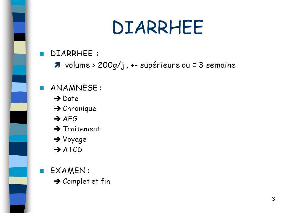 3 DIARRHEE DIARRHEE : volume > 200g/j, +- supérieure ou = 3 semaine ANAMNESE : Date Chronique AEG Traitement Voyage ATCD EXAMEN : Complet et fin