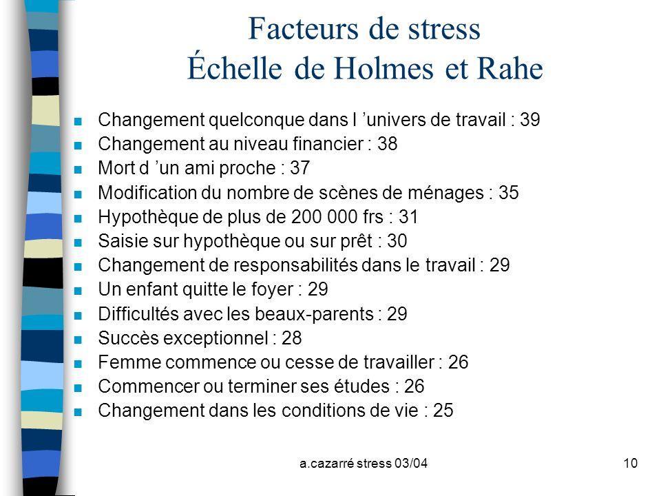 a.cazarré stress 03/0410 Facteurs de stress Échelle de Holmes et Rahe n Changement quelconque dans l univers de travail : 39 n Changement au niveau fi