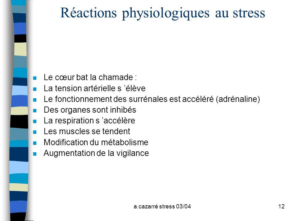 a.cazarré stress 03/0412 Réactions physiologiques au stress n Le cœur bat la chamade : n La tension artérielle s élève n Le fonctionnement des surréna