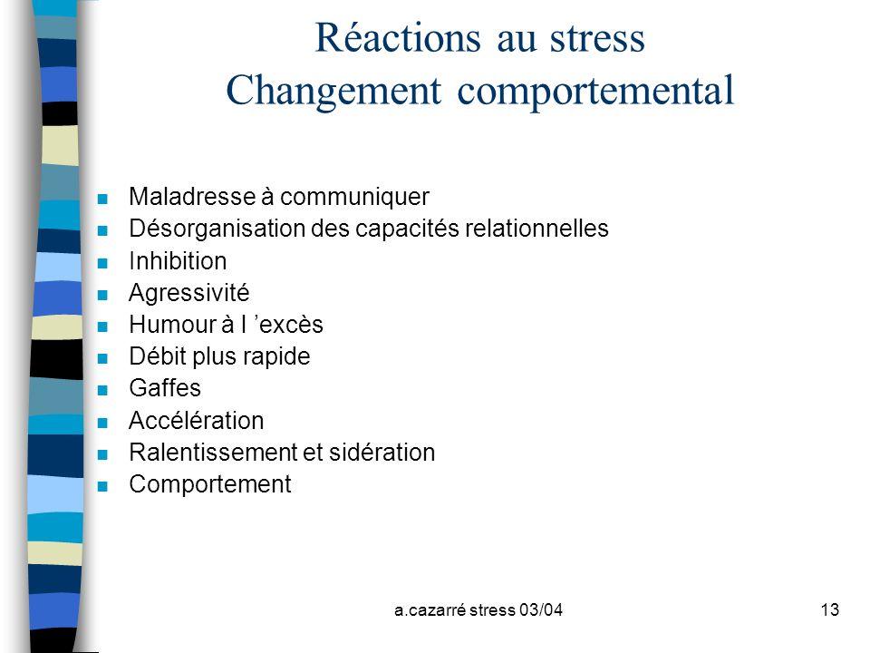 a.cazarré stress 03/0413 Réactions au stress Changement comportemental n Maladresse à communiquer n Désorganisation des capacités relationnelles n Inh