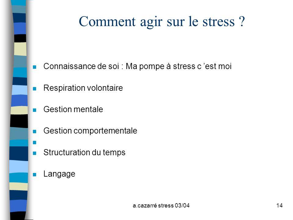 a.cazarré stress 03/0414 Comment agir sur le stress ? n Connaissance de soi : Ma pompe à stress c est moi n Respiration volontaire n Gestion mentale n