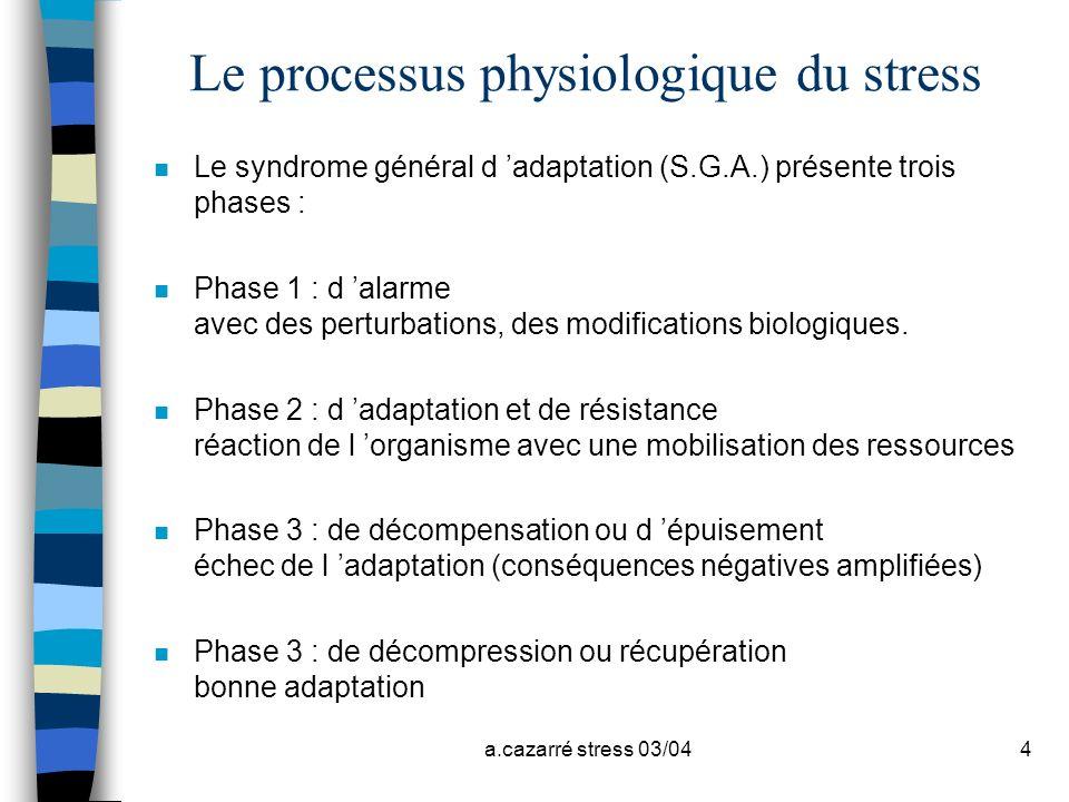 a.cazarré stress 03/044 Le processus physiologique du stress n Le syndrome général d adaptation (S.G.A.) présente trois phases : n Phase 1 : d alarme
