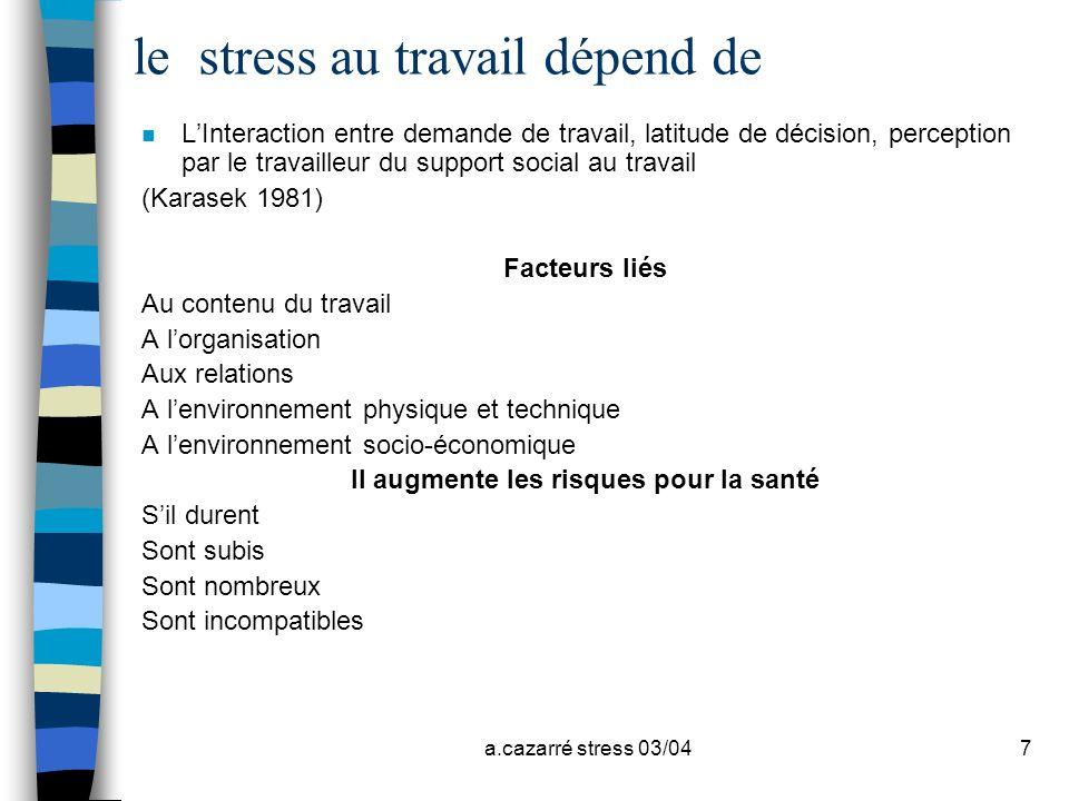 a.cazarré stress 03/047 le stress au travail dépend de n LInteraction entre demande de travail, latitude de décision, perception par le travailleur du