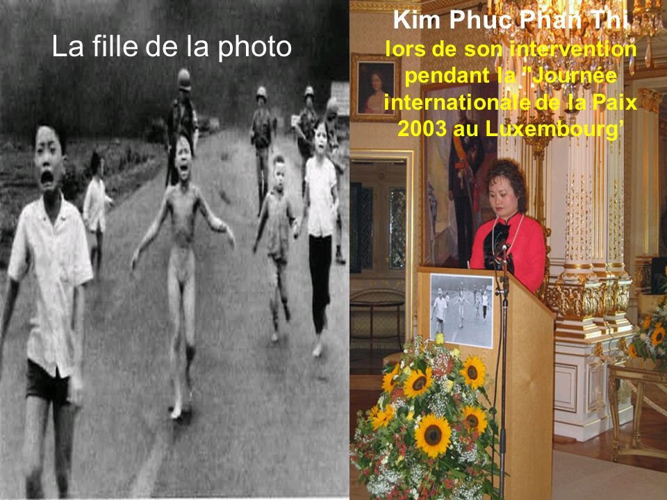 La fille de la photo Kim Phuc Phan Thi lors de son intervention pendant la