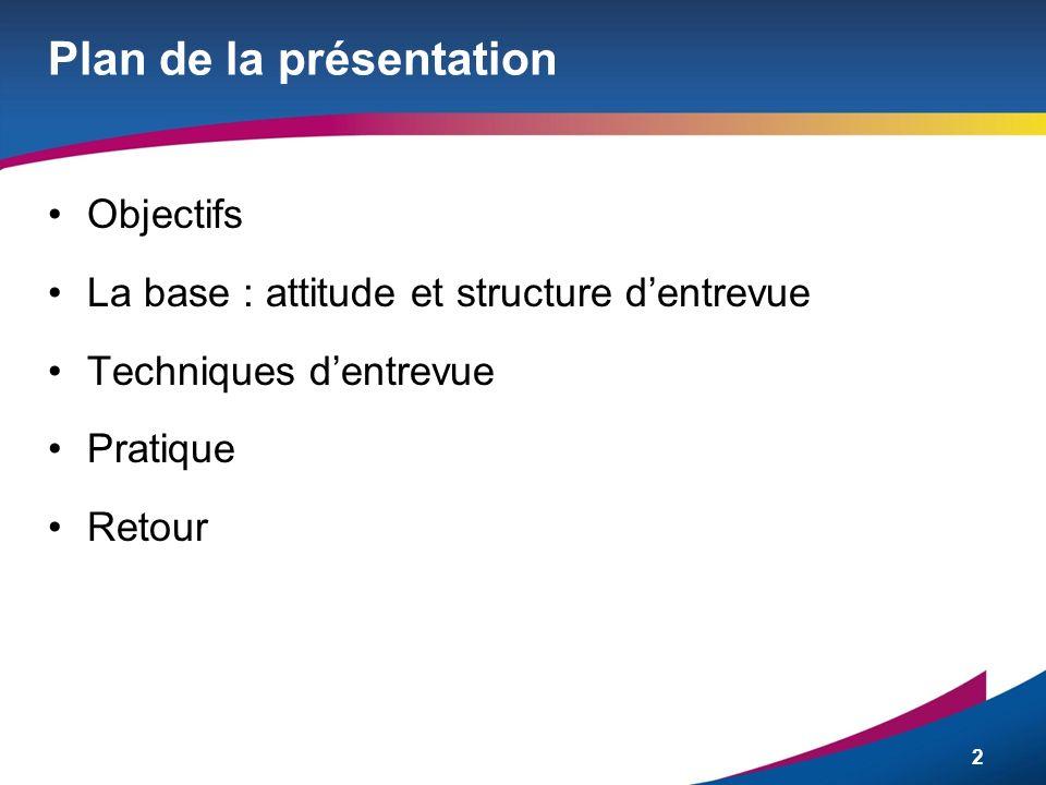 2 Plan de la présentation Objectifs La base : attitude et structure dentrevue Techniques dentrevue Pratique Retour