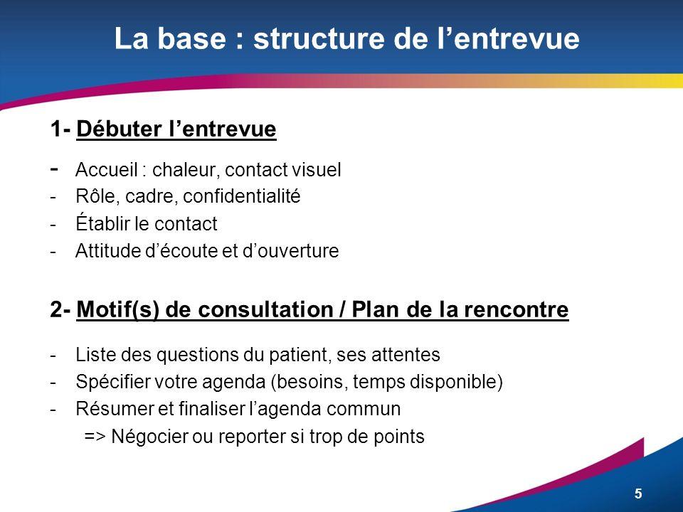 5 La base : structure de lentrevue 1- Débuter lentrevue - Accueil : chaleur, contact visuel -Rôle, cadre, confidentialité -Établir le contact -Attitud