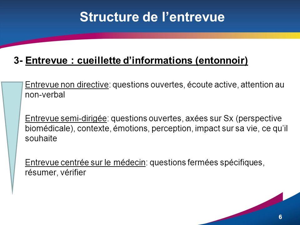 6 Structure de lentrevue 3- Entrevue : cueillette dinformations (entonnoir) Entrevue non directive: questions ouvertes, écoute active, attention au no