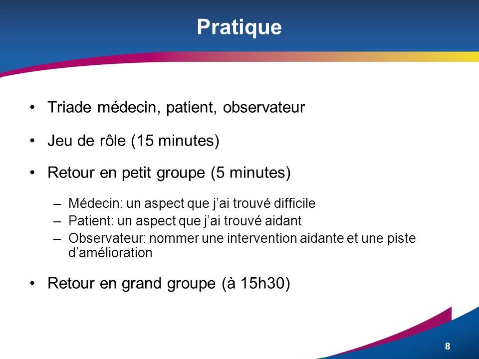8 Pratique Triade médecin, patient, observateur Jeu de rôle (15 minutes) Retour en petit groupe (5 minutes) –Médecin: un aspect que jai trouvé diffici