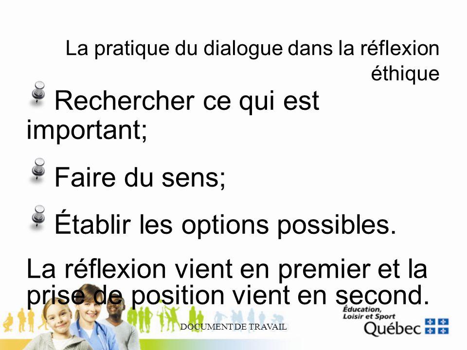 DOCUMENT DE TRAVAIL La pratique du dialogue dans la réflexion éthique Rechercher ce qui est important; Faire du sens; Établir les options possibles. L