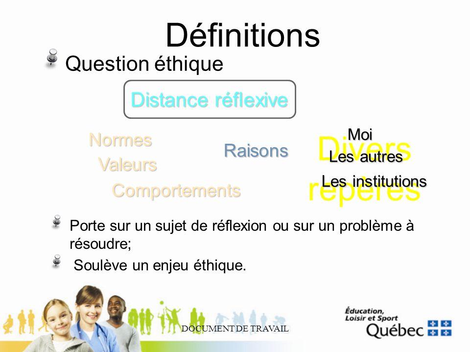 DOCUMENT DE TRAVAIL Définitions Question éthique Distance réflexive ComportementsNormesValeurs Raisons Porte sur un sujet de réflexion ou sur un probl