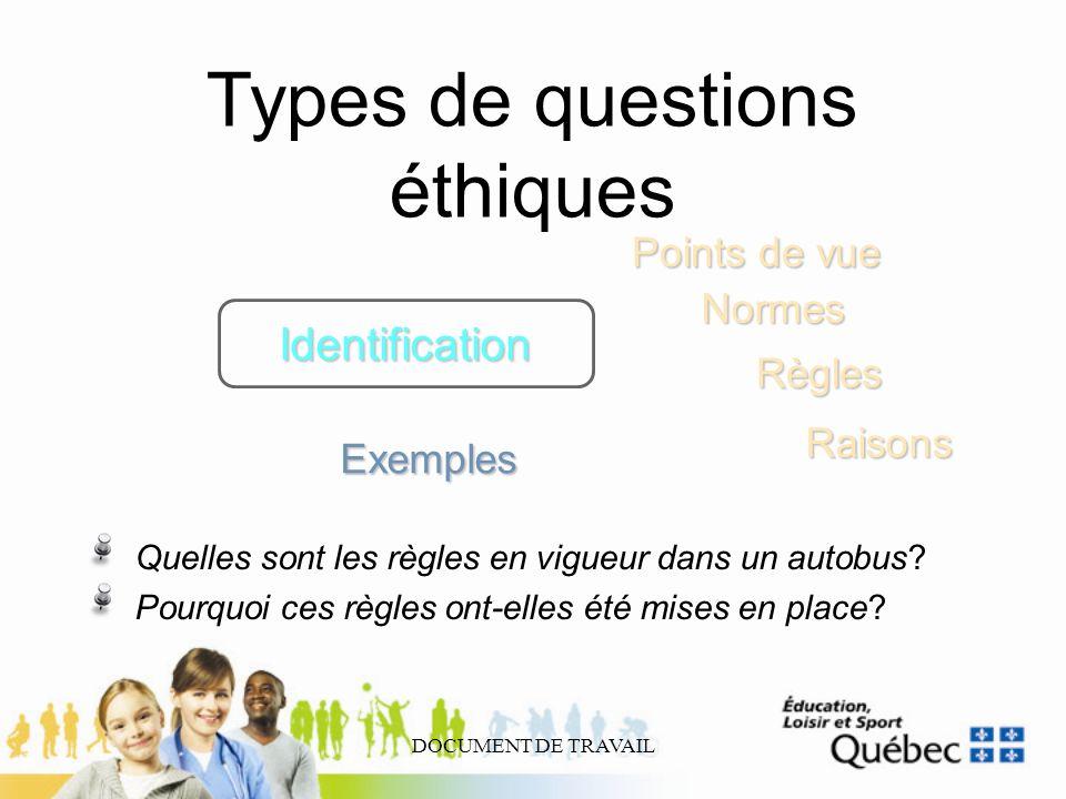 DOCUMENT DE TRAVAIL Types de questions éthiques Identification Règles Points de vue Normes Exemples Quelles sont les règles en vigueur dans un autobus