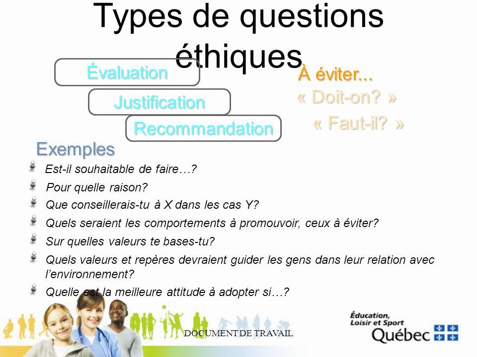 DOCUMENT DE TRAVAIL Types de questions éthiques Évaluation « Faut-il? » À éviter... « Doit-on? » Exemples Que conseillerais-tu à X dans les cas Y? Que