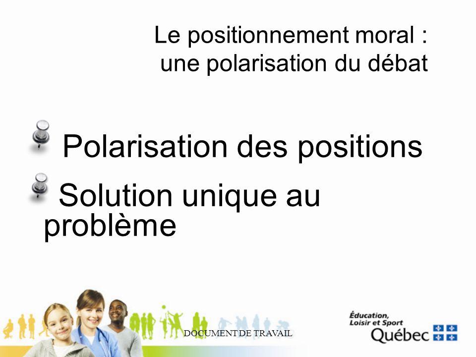 DOCUMENT DE TRAVAIL Le positionnement moral : une polarisation du débat Polarisation des positions Solution unique au problème