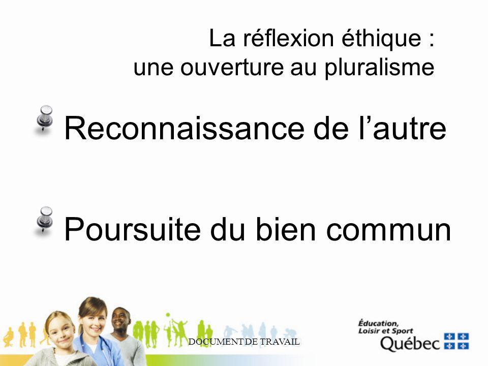 DOCUMENT DE TRAVAIL La réflexion éthique : une ouverture au pluralisme Reconnaissance de lautre Poursuite du bien commun