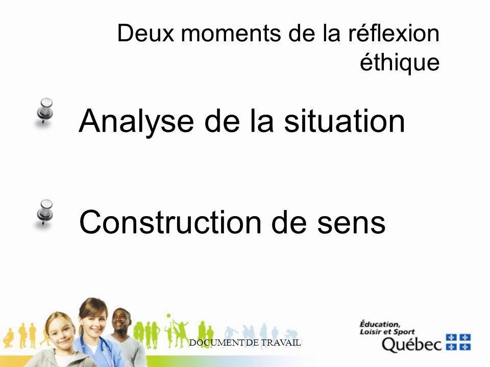 DOCUMENT DE TRAVAIL Deux moments de la réflexion éthique Analyse de la situation Construction de sens
