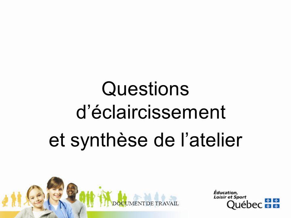 DOCUMENT DE TRAVAIL Questions déclaircissement et synthèse de latelier