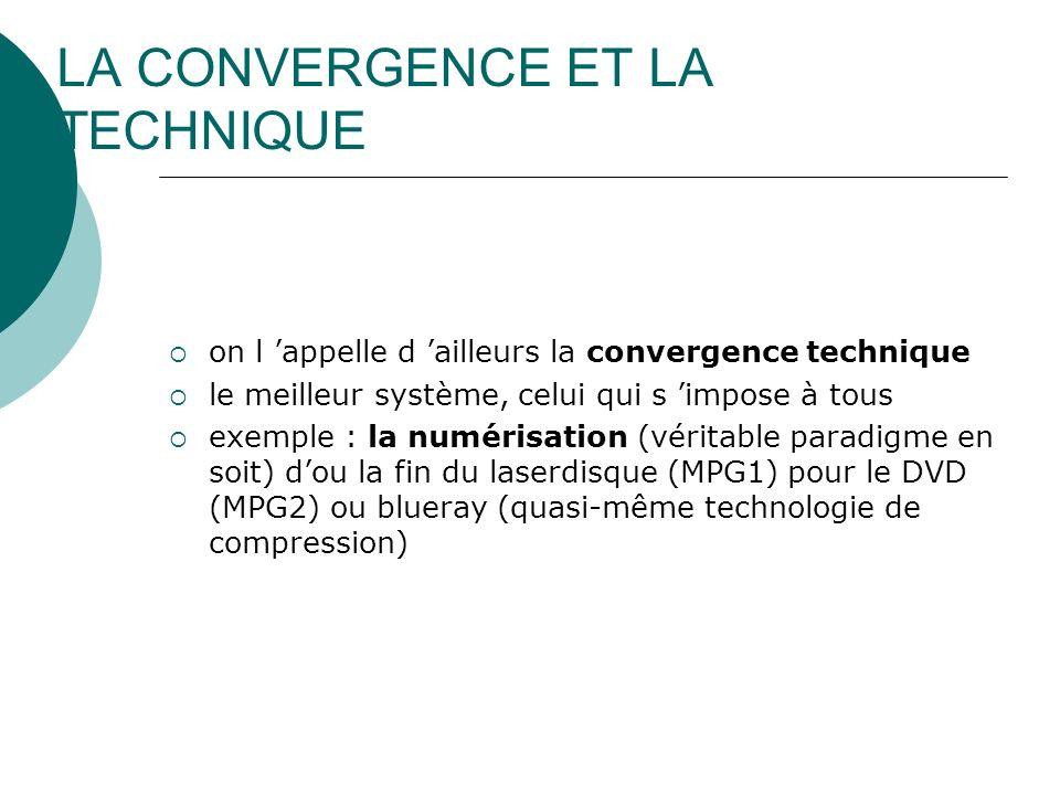 LA CONVERGENCE ET LA TECHNIQUE on l appelle d ailleurs la convergence technique le meilleur système, celui qui s impose à tous exemple : la numérisati