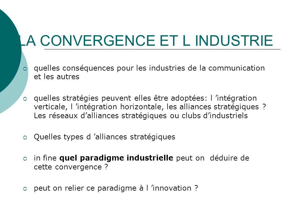 LA CONVERGENCE ET L INDUSTRIE quelles conséquences pour les industries de la communication et les autres quelles stratégies peuvent elles être adoptée