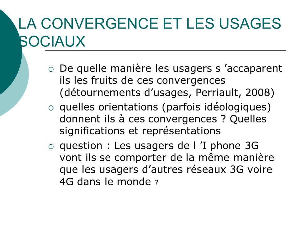 LA CONVERGENCE ET LES USAGES SOCIAUX De quelle manière les usagers s accaparent ils les fruits de ces convergences (détournements dusages, Perriault,