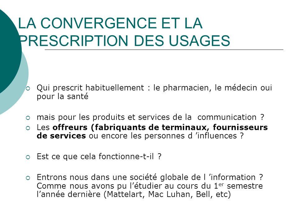 LA CONVERGENCE ET LA PRESCRIPTION DES USAGES Qui prescrit habituellement : le pharmacien, le médecin oui pour la santé mais pour les produits et servi