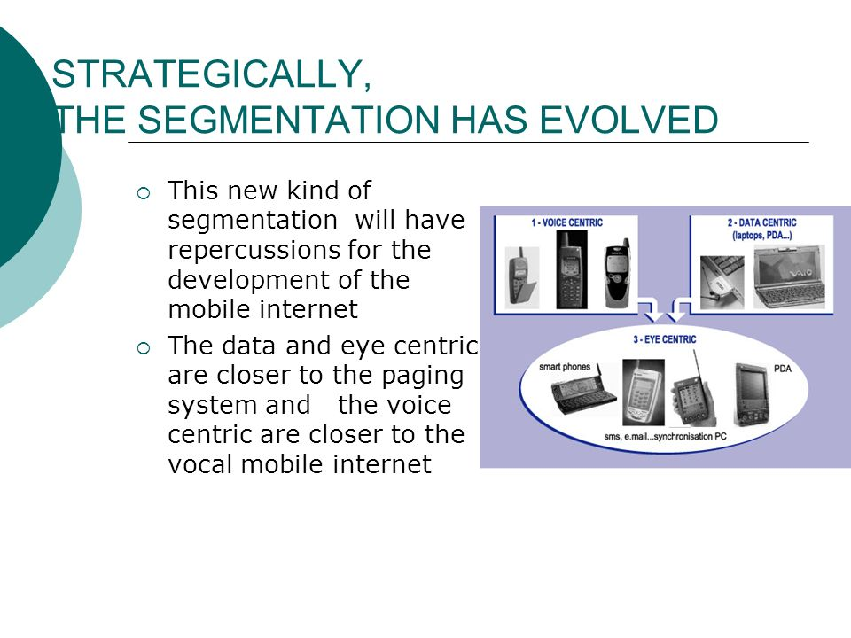 STRATEGICALLY, THE SEGMENTATION HAS EVOLVED This new kind of segmentation will have repercussions for the development of the mobile internet The data
