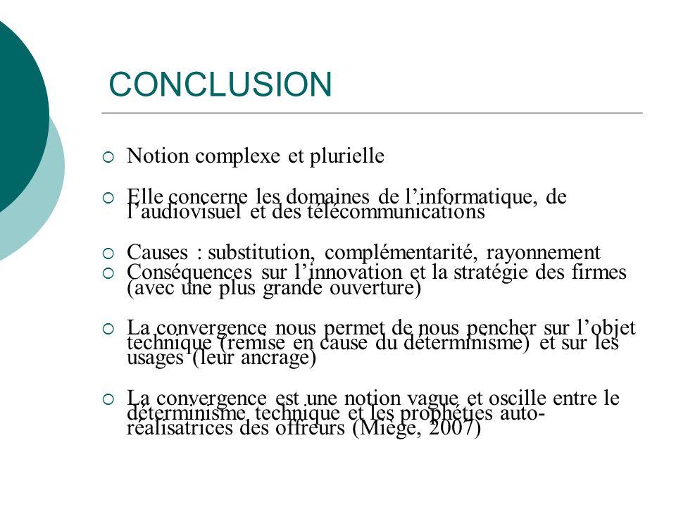 CONCLUSION Notion complexe et plurielle Elle concerne les domaines de linformatique, de laudiovisuel et des télécommunications Causes : substitution,