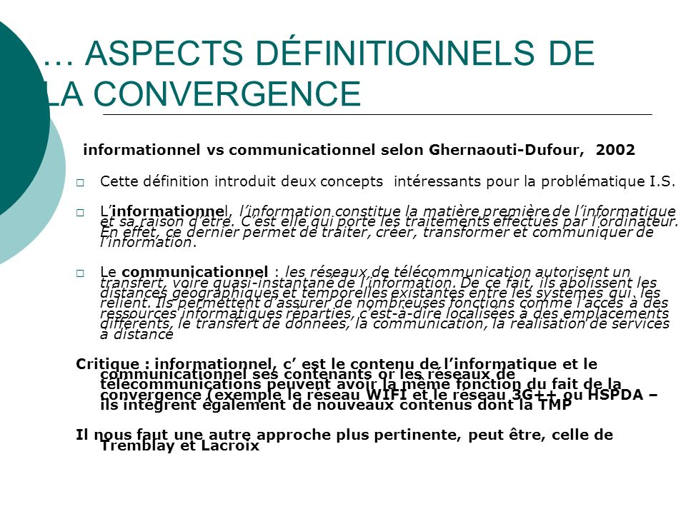 2001 GLOBALISME ET PLURALISME From paging to the mobile internet : the convergence between radiocommunications and Internet