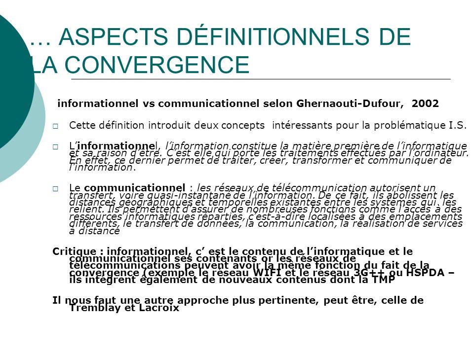 CONVERGENCE ET LOGIQUES SOCIO ECONOMIQUES Quel rapport existe t il entre cette convergence et les logiques socio économiques qui structurent les secteurs de la communication .