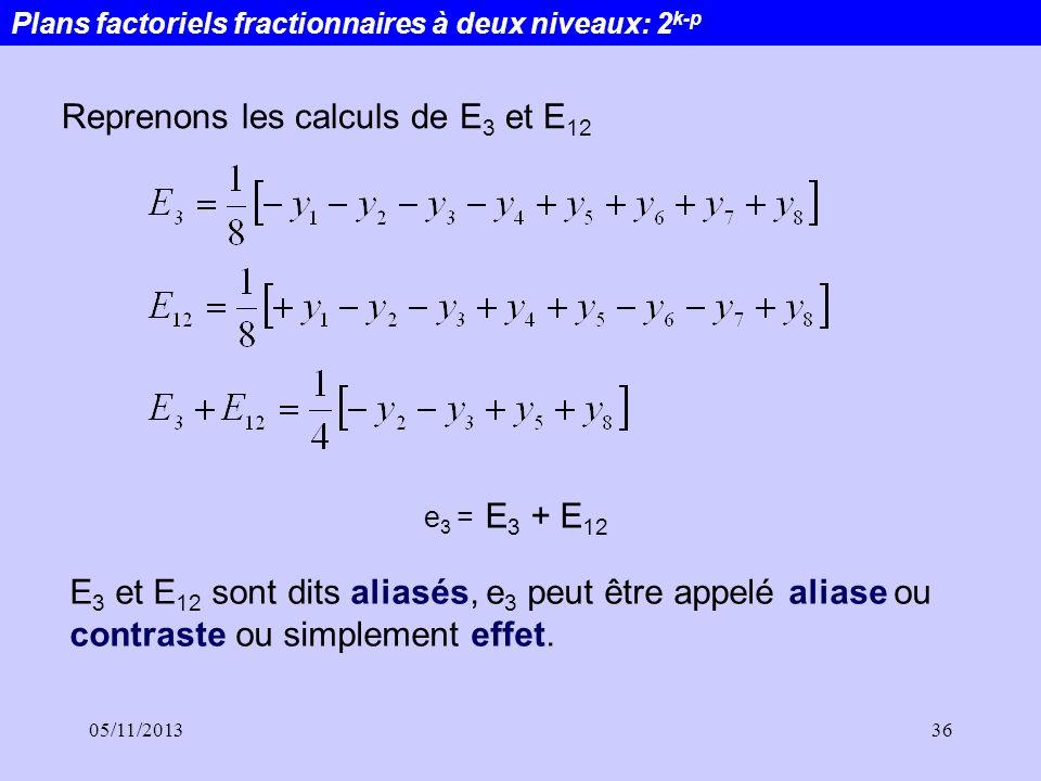 05/11/201336 Reprenons les calculs de E 3 et E 12 e 3 = E 3 + E 12 E 3 et E 12 sont dits aliasés, e 3 peut être appelé aliase ou contraste ou simpleme
