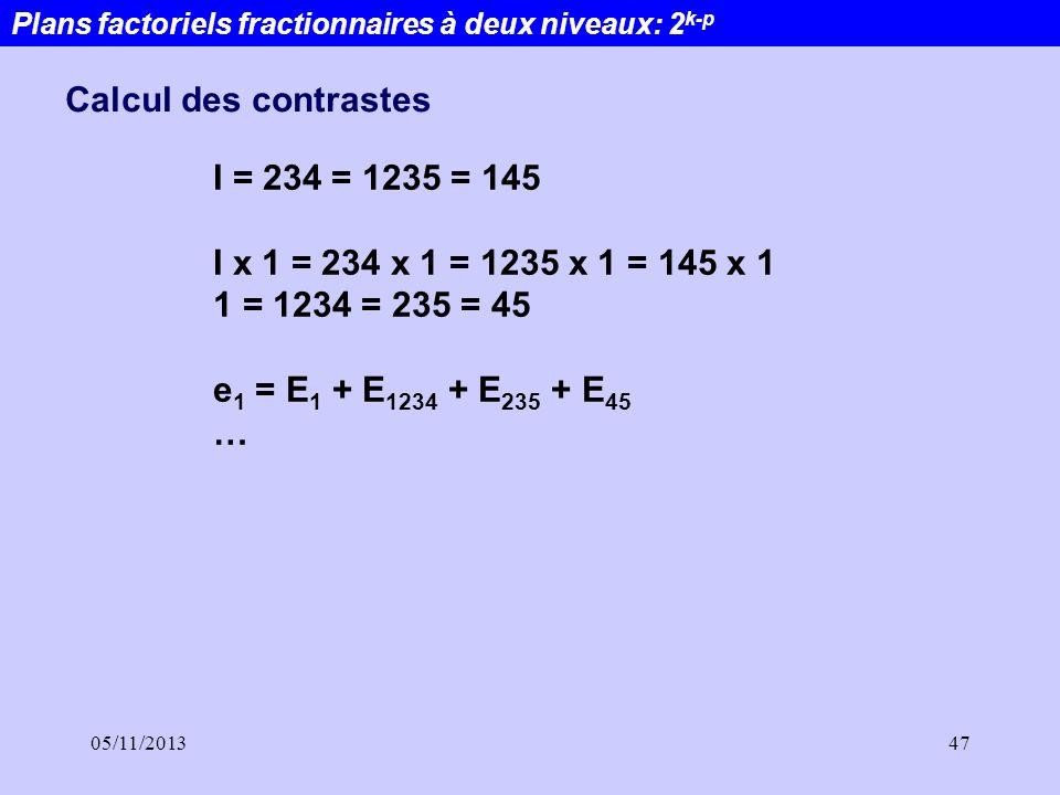 05/11/201347 Plans factoriels fractionnaires à deux niveaux: 2 k-p Calcul des contrastes I = 234 = 1235 = 145 I x 1 = 234 x 1 = 1235 x 1 = 145 x 1 1 =