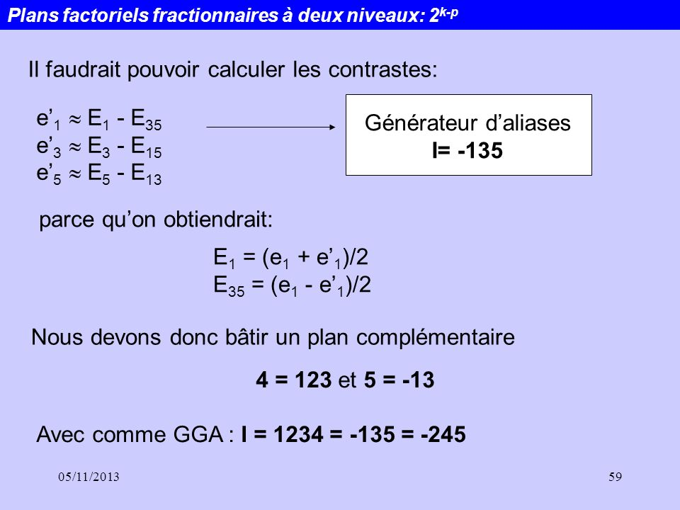 05/11/201359 e 1 E 1 - E 35 e 3 E 3 - E 15 e 5 E 5 - E 13 Il faudrait pouvoir calculer les contrastes: E 1 = (e 1 + e 1 )/2 E 35 = (e 1 - e 1 )/2 parc